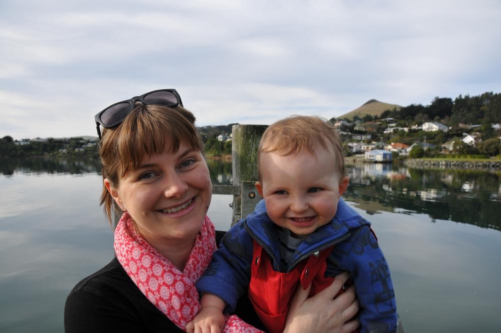 Amanda and Fergus at Broad Bay, NZ.